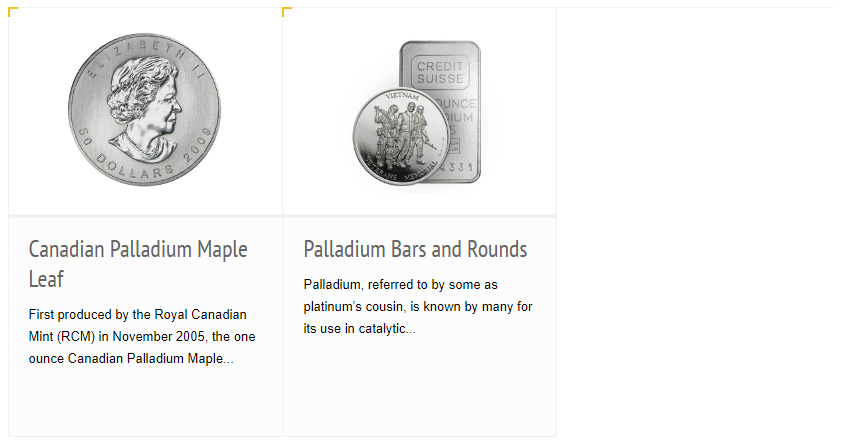 IRA-Approved Coins and Bars Palladium