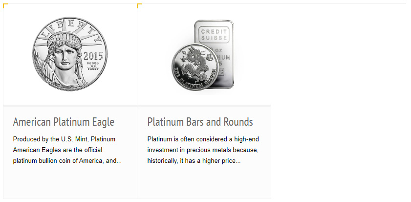 IRA-Approved Coins and Bars Platinum