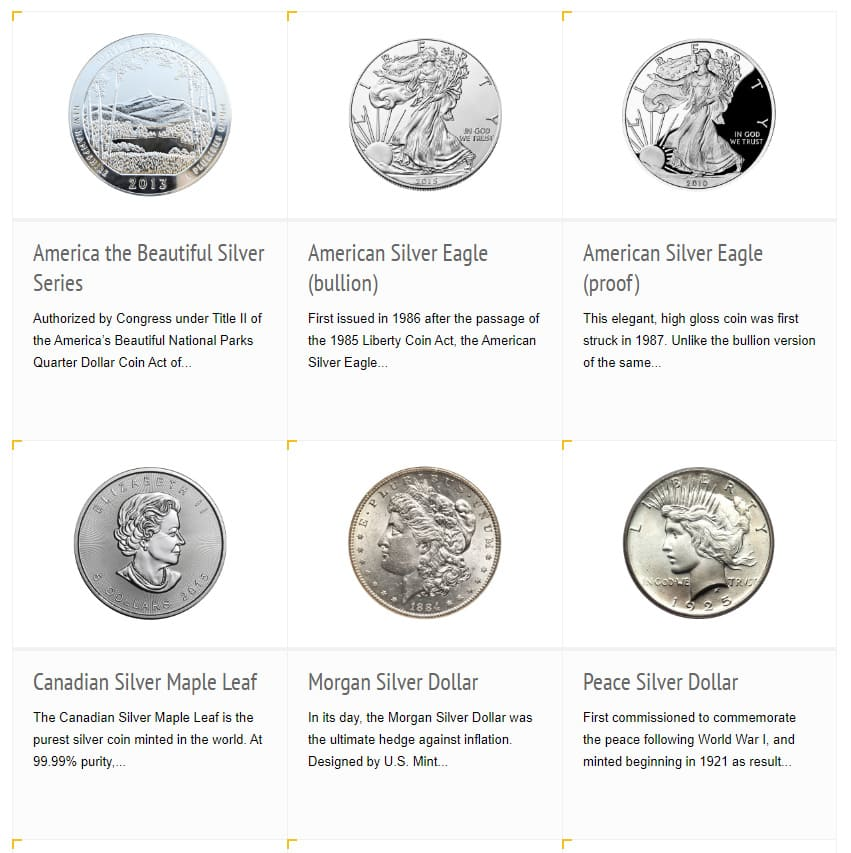 IRA-Approved Coins and Bars Silver