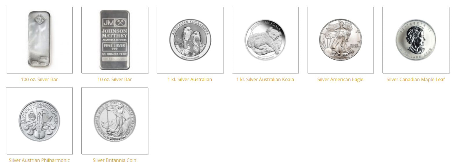 IRA-Approved Coins and Bars - Silver