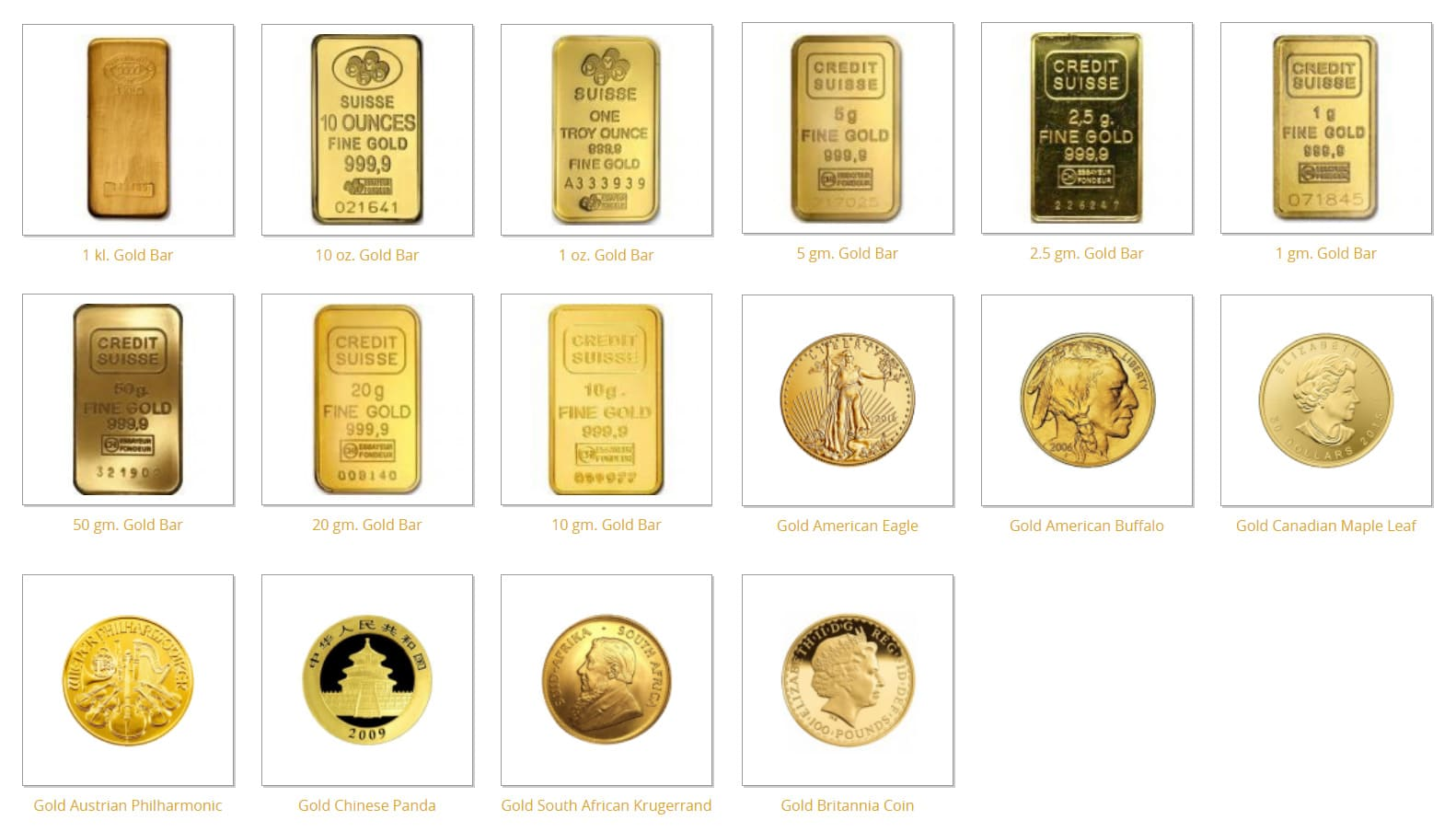 IRA-Approved Coins and Bars - Gold